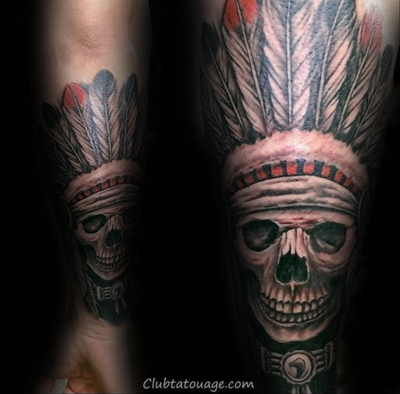 Forearm indiens skull Homme manches tattoo Ideas