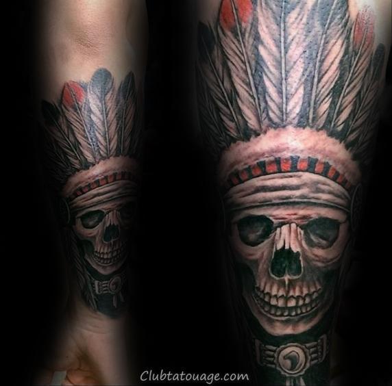 forearm-indian-skull-male-sleeve-tattoo-ideas
