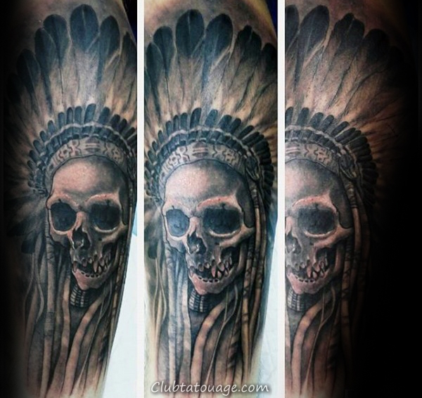Forearm manches Indian Homme Tattoo Idées Skull