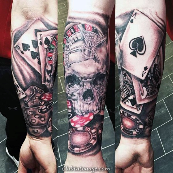 manches pleine Playing Card Hommes en noir et gris Tattoo Designs