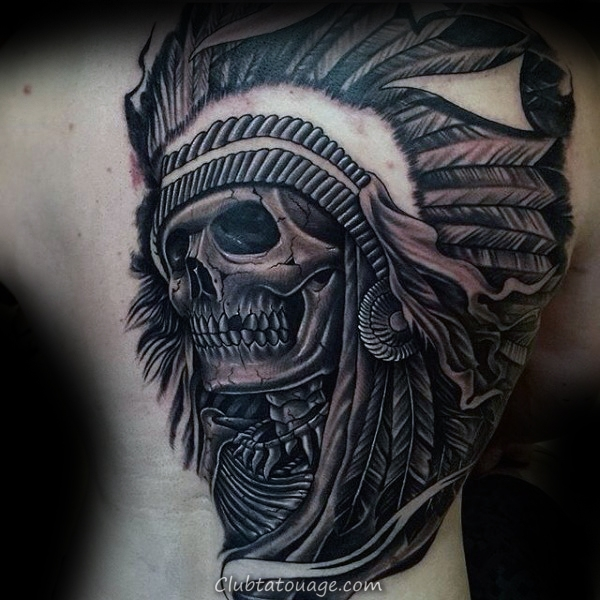 Full Retour Guys Chief Skull Tattoo Indian Designs
