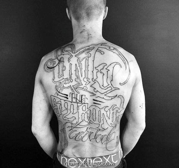 Gentleman Avec Tattoo Sleeve Script Full Leg