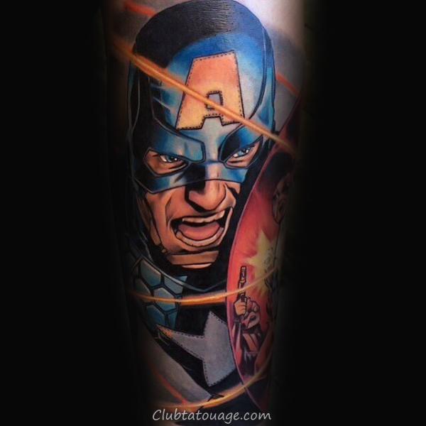 Guys Shoulder Captain America 3d Bouclier Tattoo