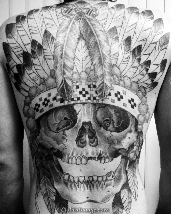Gentleman Avec full back Tattoo Of Skull Indian