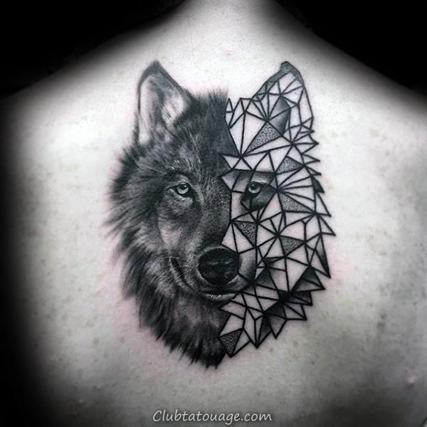 Gentleman Avec Half géométrique Loup Retour Tattoo