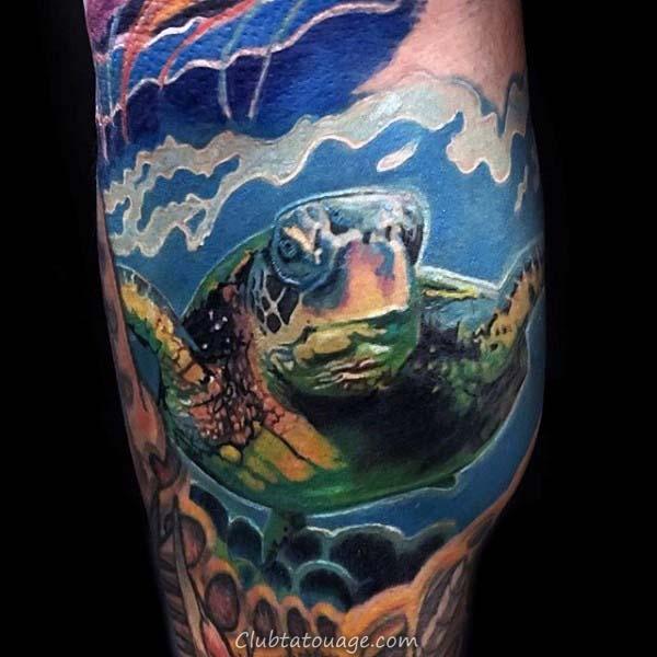 Gentleman Avec Petite Tortue Tribal Tattoo Sur Leg Calf