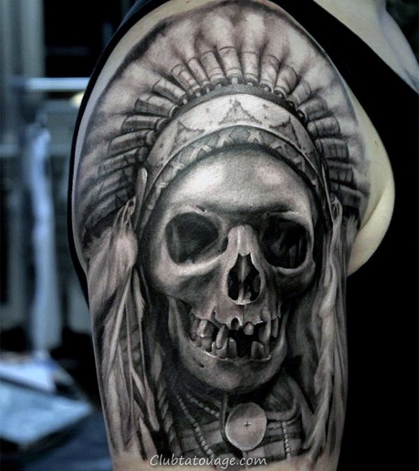 Gentleman Avec Crâne indien réaliste moitié manches Tattoo Design