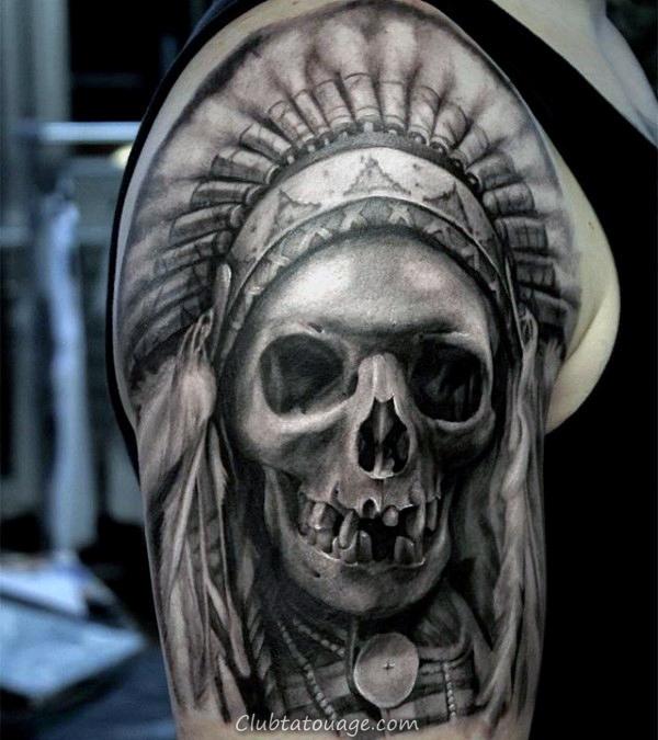 gentleman-with-realistic-indian-skull-half-sleeve-tattoo-design