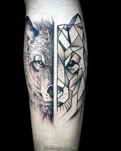 Gentleman Avec Upper Forearm géométrique Loup Tattoo