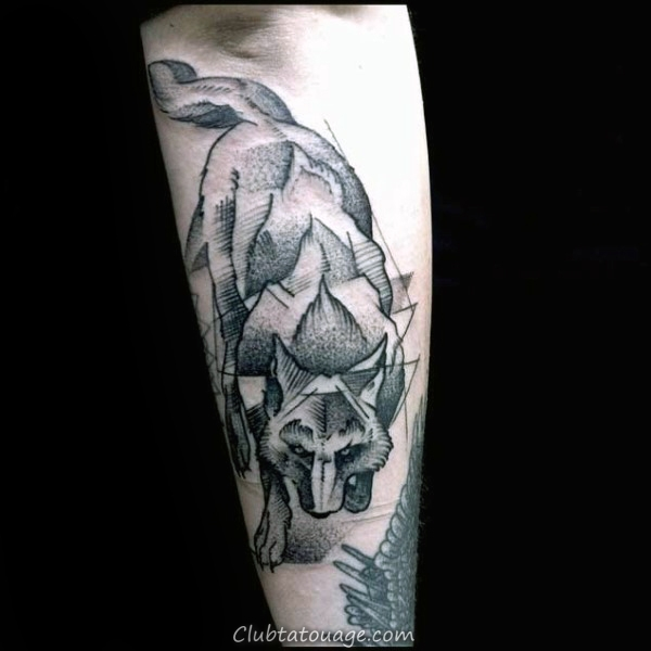 Geometric Loup Body Tattoo Shaded Ink Homme Arm