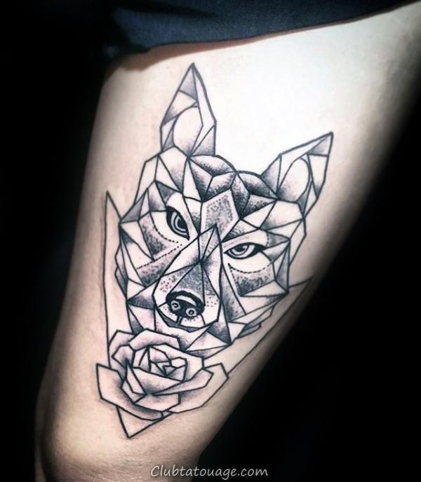 Loup géométrique avec Rose Flower Mens cuisse Tattoo