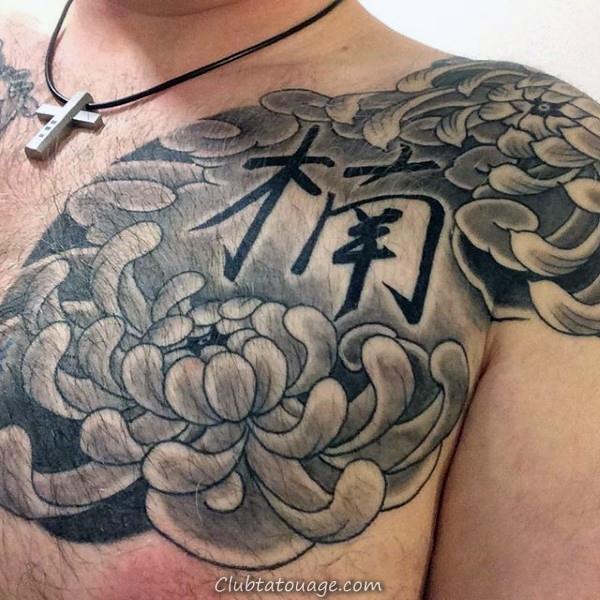Grey Shaded japonais Chrysanthemum Mens poitrine et l'épaule Tatouage Fleur