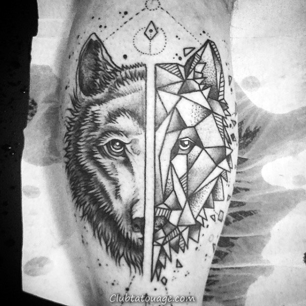 Guy Avec Geometric Loup Leg Calf Tattoo