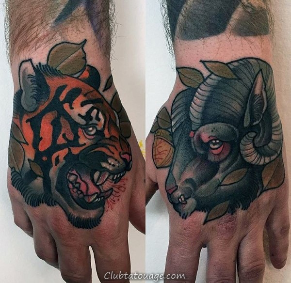 Guy Avec Tatouages main de RAM et Tiger Neo Design traditionnel
