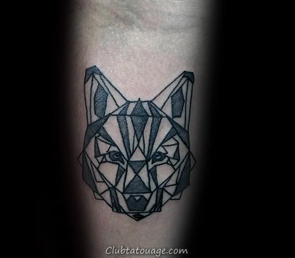 Guy Avec Petit Simple géométrique Loup Inner Arm Tattoos