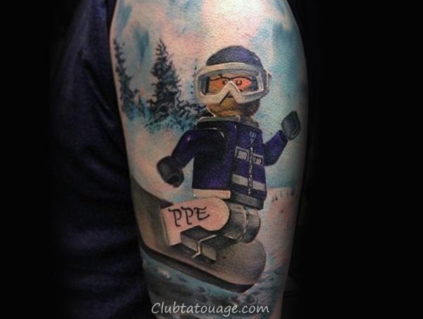 Arms Guys Mignon robotique snowboard Activité Tattoo