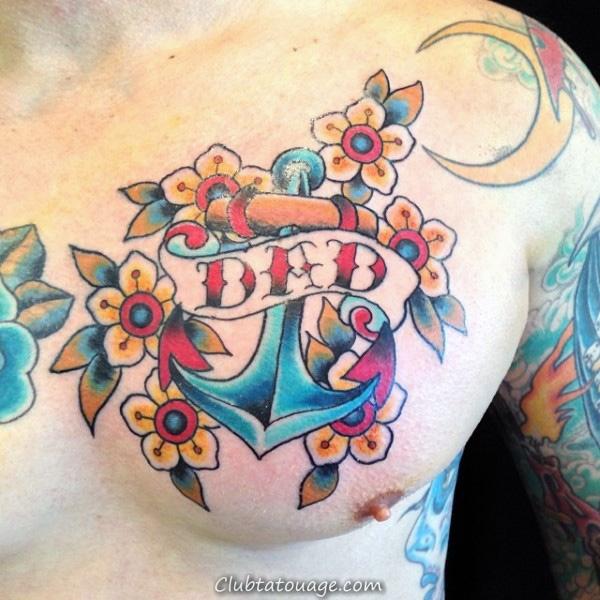 Les gars Florals poitrine et Anchor papa Tattoo