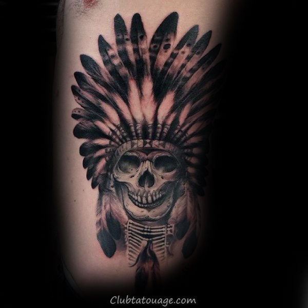 guys-cool-indian-skull-tattoo-on-rib-cage-side-of-body