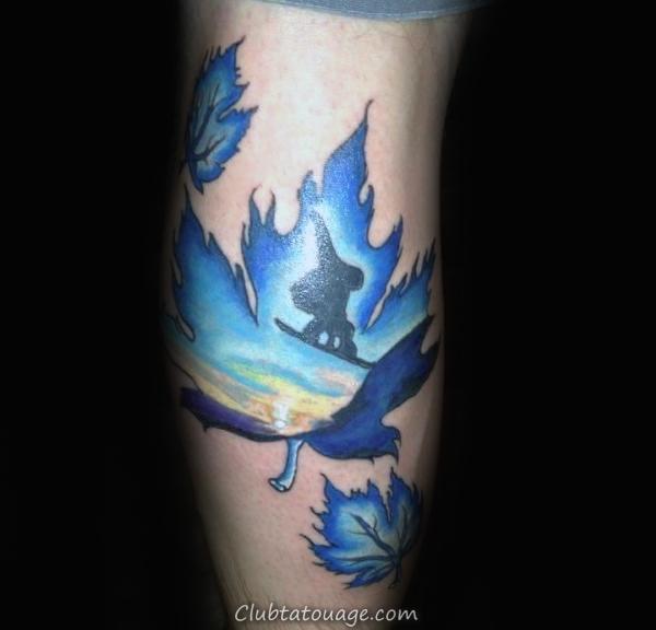 Guys Avant-bras Feuilles bleutés et Snowboard Tattoo