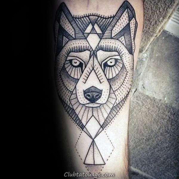 Les gars géométrique Loup Dotwork Inner Forearm Tatouages 
