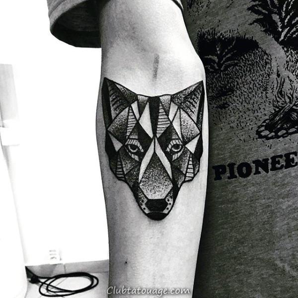Les gars géométrique Loup Tattoo Sur Inner Forearm