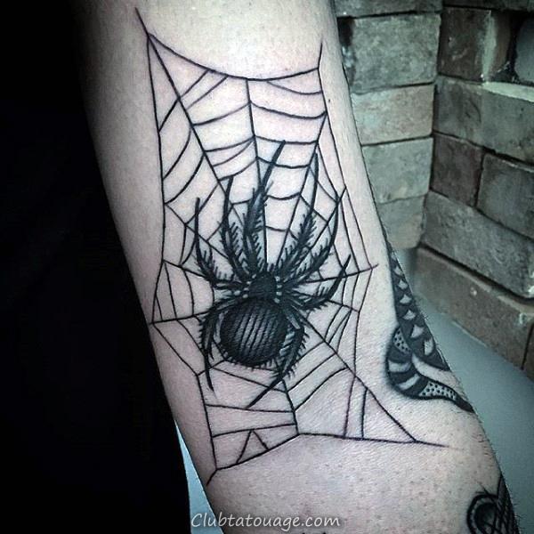 Inner Elbow Guys Spider Web Tattoo Ideas Avec Skull