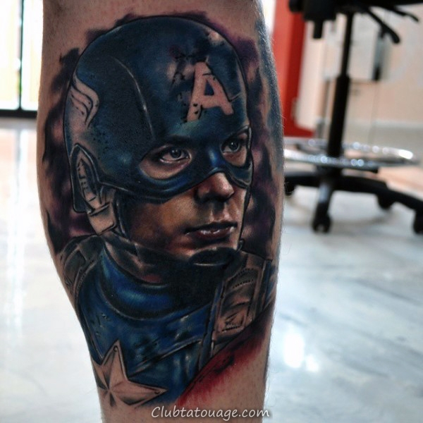 Guys Upper Arm Captain America Shaded Noir Tatouages encre