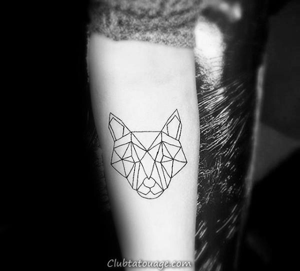 Guys Minimaliste géométrique loup tatouage sur l'avant-bras intérieur Avec Noir Outlines encre