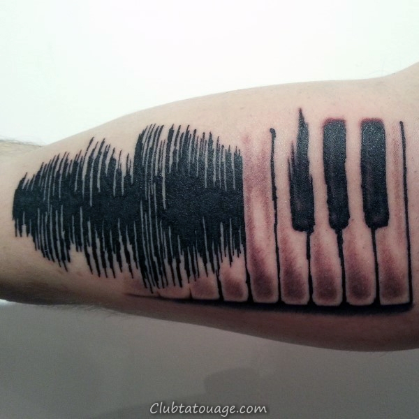 Guys Piano Soundwave Biceps Tattoo design