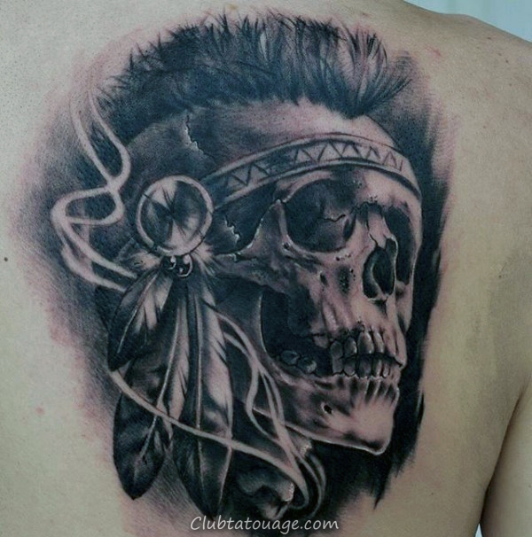 guys-realistic-indian-skull-back-tattoo