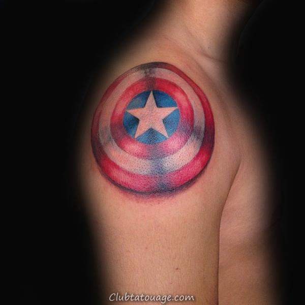 Guys Aquarelle Captain America négatifs Tatouages Espace Arm