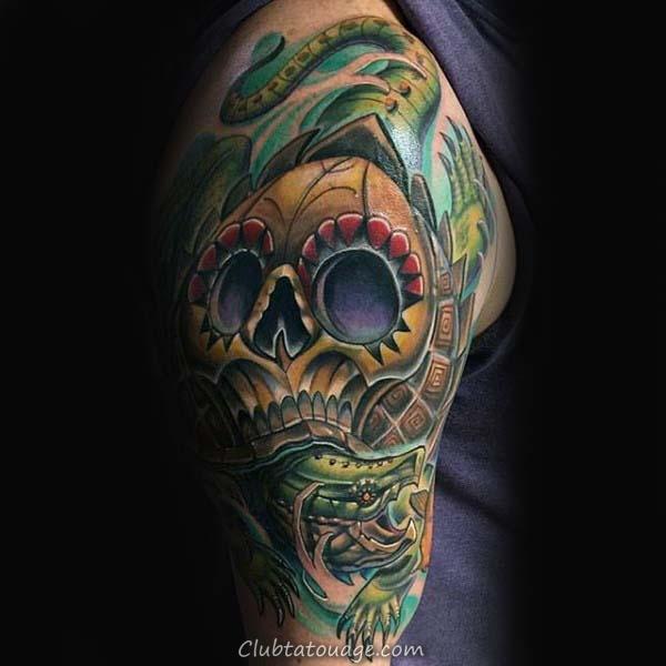 width Half Sleeve Guys tortue design Tattoo Inspiration