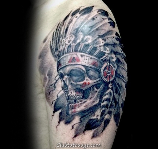 Guys Upepr Indian Arm Skull Aquarelle Tattoos