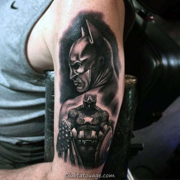 manches demi Armure Captain America Shield Tattoo For Men