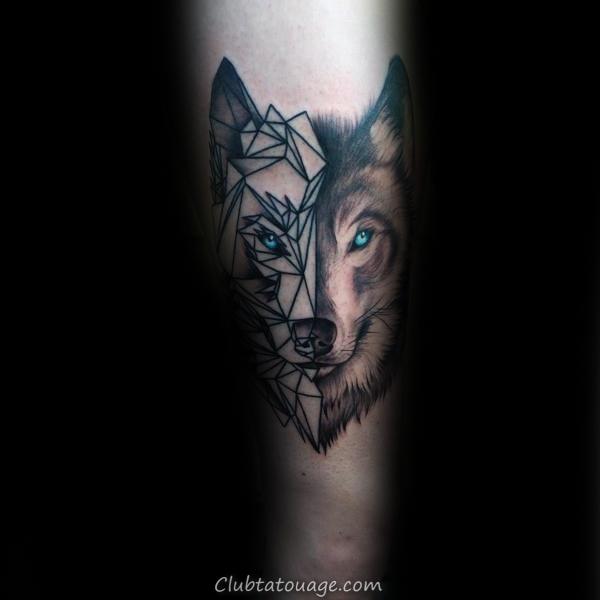 La moitié réaliste moitié géométrique Loup Mens Tattoo