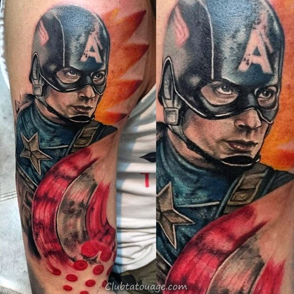 Leg Calf Homme Captain America Tattoo Ideas