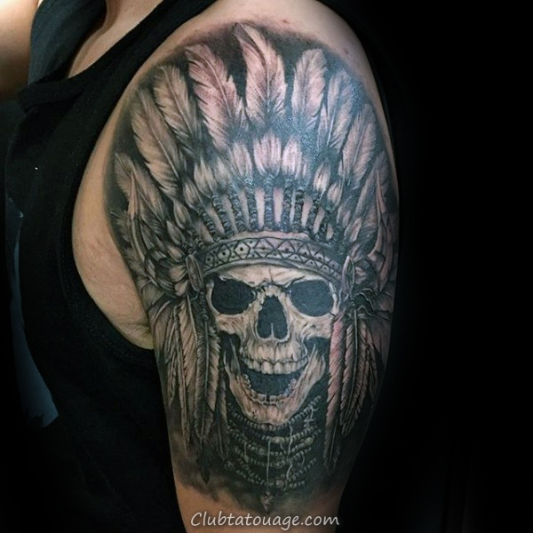 Half Sleeve Homme Skull Indian Tattoo Inspiration