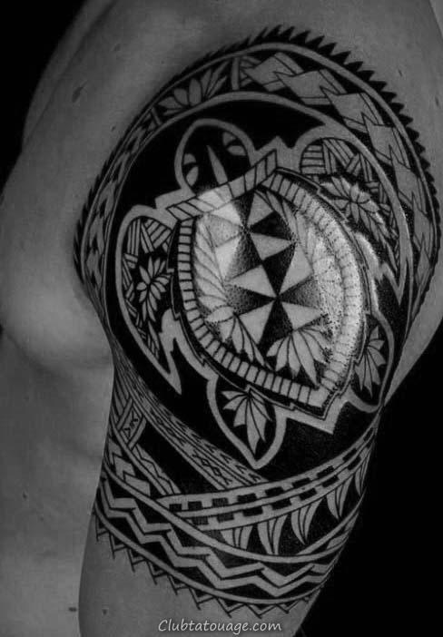 Inner Forearm Shaded noir et encre grise tortue Tattoo For Men