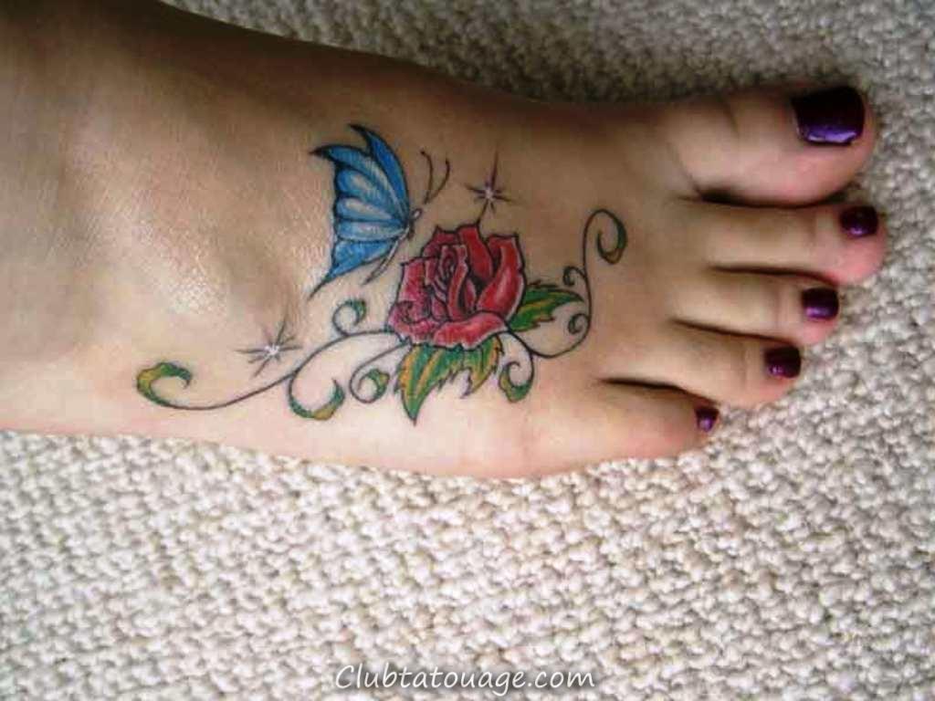 hd-petite-rose-tatouages-pour -Pied