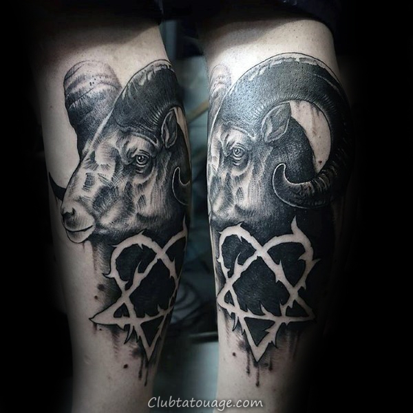 Heartagram Ram Mens Black Ink Négatif Espace Leg Tattoo