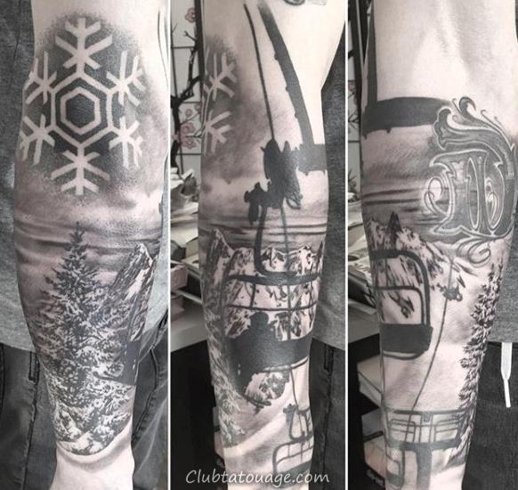 Heavenly neige Peaks Clad et snowboard Tattoo Homme Avant-bras