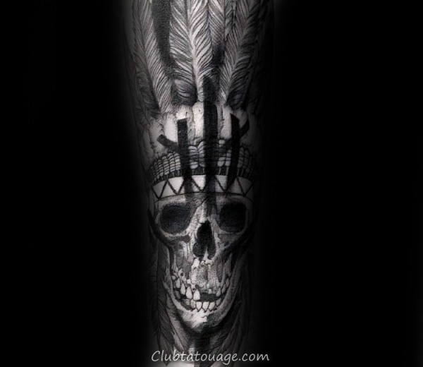 Crâne indien Avec Broken Teeth Mens Forearm Tattoo Sleeve