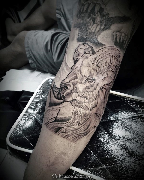 Arm Inner Ram Tattoo Male