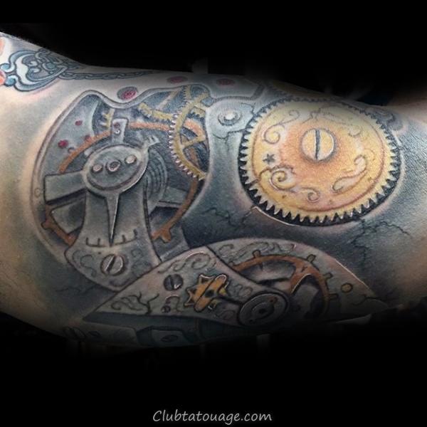 width Male Pocket Watch Inner Arm Rose Flower Tattoos
