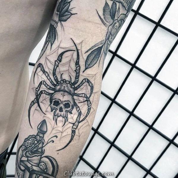 width genou Araignée Old School Web Guys Design Tattoo Inspiration