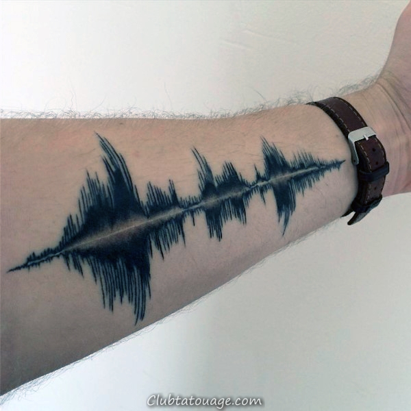 Inner Forearm Blue Ink Soundwave Tatouages Pour Guys