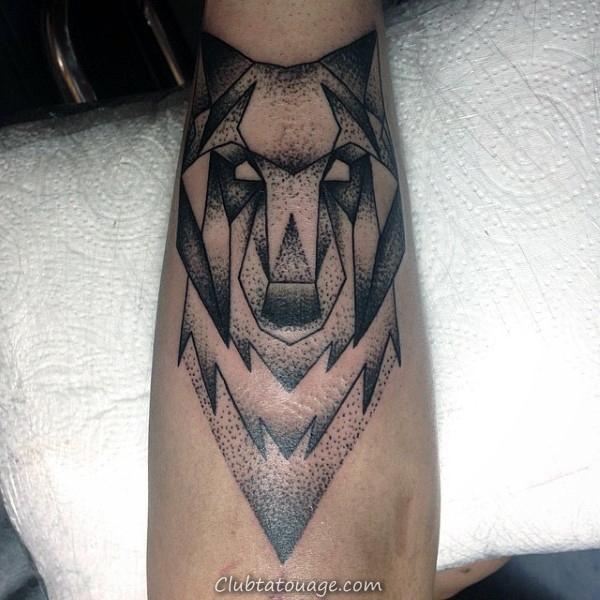 Inner Forearm géométrique Loup Tattoo Male Avec Dotwork Art