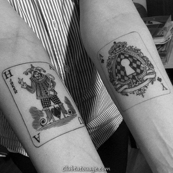 King Of Hearts Avec Ace Of Spades Mens Playing Card Arm Tattoos
