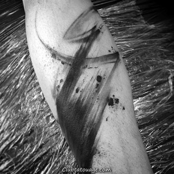 Stroke Guerrier Japanese Brush cuisse Tattoos