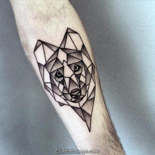 Inner Forearm Mens Shaded Dotwork géométrique Loup Tattoo Inspiration